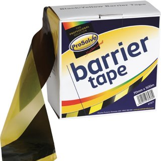 Prosolve Black & Yellow Barrier Tape (Box of 10 x 500m Rolls)