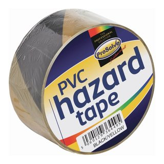 Prosolve Black & Yellow Self Adhesive Hazard Floor Tape (Box of 24 x 33m Rolls)