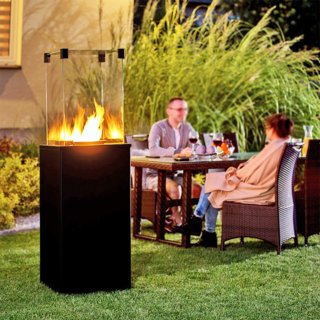Kratki Real Flame Patio Heater - Black Steel Base Panels - Manual